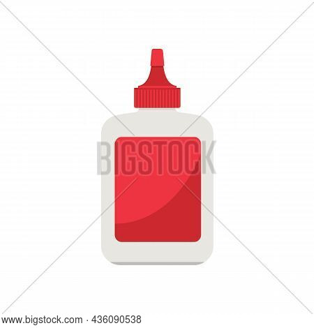 Red Glue Bottle Isolated On White Background. Glue Stick  Adhesive. Vector Stock