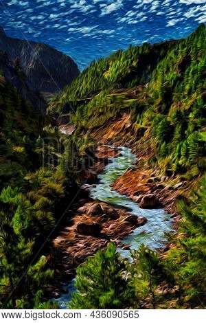 Mighty Stream Running Through Mountains And Deep Valleys At The Himalayas. The World Largest And Hig