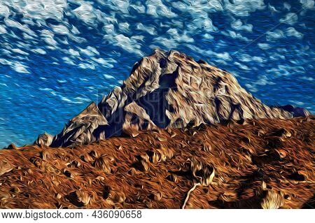 Rocky Mountains And Steep Cliff With Blue Sky At The Himalaya Ridge. The World Largest And Highest M