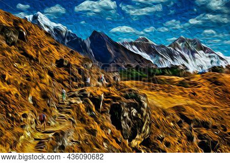 People In A Trail Through Cliffs And Deep Valleys At The Himalaya Ridge. The World Largest And Highe