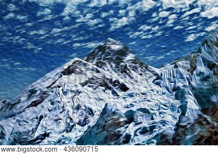 View Of The Glacier And Steep Cliff Of Everest Mountain At The Himalayas. The World Largest And High