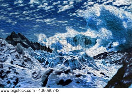 View Of The Glacier And Steep Cliffs Of Everest Mountain At The Himalayas. The World Largest And Hig
