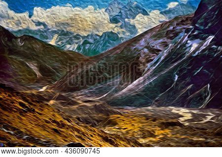 Snowy Mountains And Deep Rocky Valley At The Himalayas. The World Largest And Highest Mountain Range
