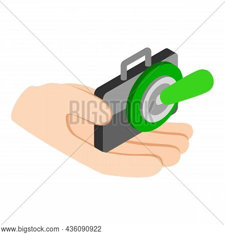 Business Insurance Icon Isometric Vector. Hand Holding Briefcase, Toggle Switcher. Financial Insuran