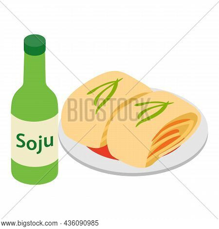 Kimchi Icon Isometric Vector. Korean Fermented Cabbage And Soju. Traditional Food And Korean Rice Vo