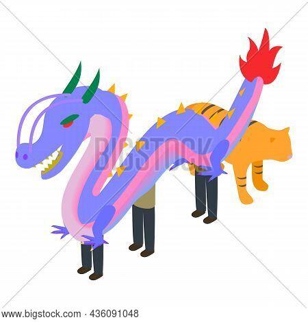Korea Symbol Icon Isometric Vector. Ussuri Tiger And Dragon Symbol South Korea. Tiger Symbolizes Str