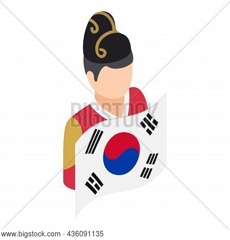 Korean Guy Icon Isometric Vector. Man In National Costume With Country Flag. Korean Traditional Clot