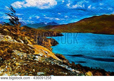 Mountain Landscape With Crystal Lake In Torres Del Paine National Park. A Region Full Of Peaks And L