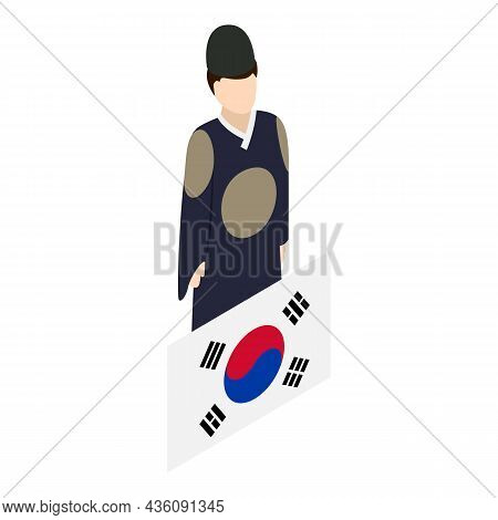 Korean Man Icon Isometric Vector. Korean Traditional Clothing And Country Flag. Folklore, Culture An