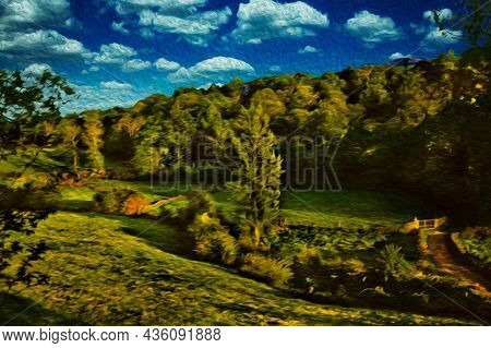 Rural Landscape With Grove And Fields At The Way Of St. James. A Pilgrimage Route Leading To Santiag