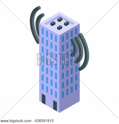 Office Internet Provider Icon Isometric Vector. Call Server. Wifi Network