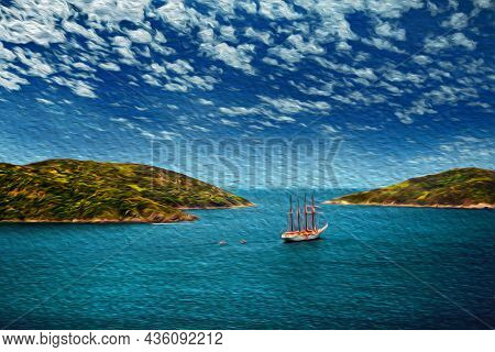 Sailboat Sailing On The Sea In A Sunny Day, Near The Beach Of Arraial Do Cabo. In A Brazilian Region
