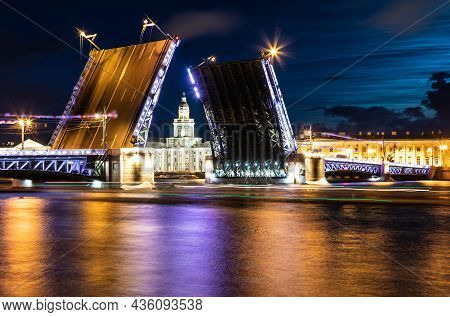 July 21, Russia, St. Petersburg. Night View Of The Neva, Divorced Bridges For The Passage Of Ships.