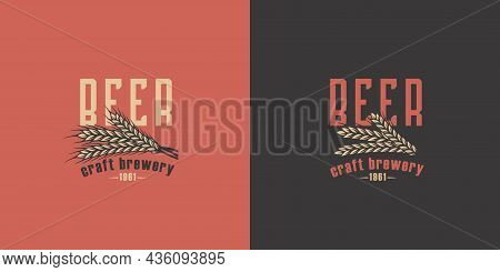 Beer Barley For Bar. Brew Design For Brewery