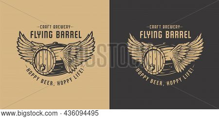Beer Fly Barrel With Wings For Bar. Original Brew Design With Craft Beer Fly Keg With Wings For Pab