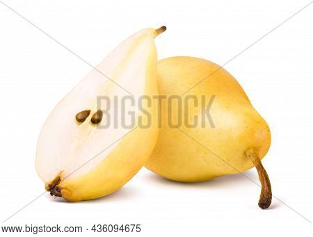 Ripe Yellow Pear And Half Pear Slice Isolated On White Background. Fresh Fruits.