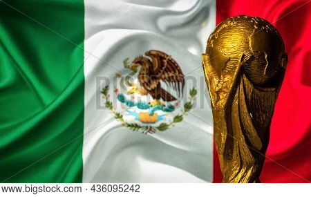 October 6, 2021, Mexico City, Mexico. Fifa World Cup On The Background Of The Flag Of Mexico.
