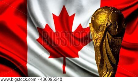 October 6, 2021, Montreal, Canada. Fifa World Cup Against The Background Of The Flag Of Canada.