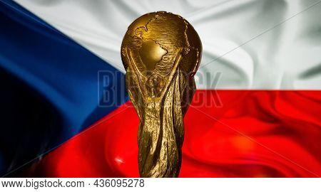 October 6, 2021, Prague, Czech Republic. Fifa World Cup On The Background Of The Czech Flag.