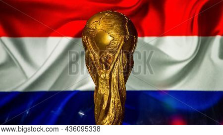 October 6, 2021, Amsterdam, Netherlands. Fifa World Cup Against The Background Of The Flag Of The Ne