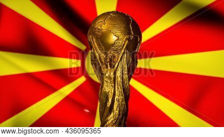 October 6, 2021, Skopje, Macedonia. Fifa World Cup Against The Background Of The Flag Of Macedonia.