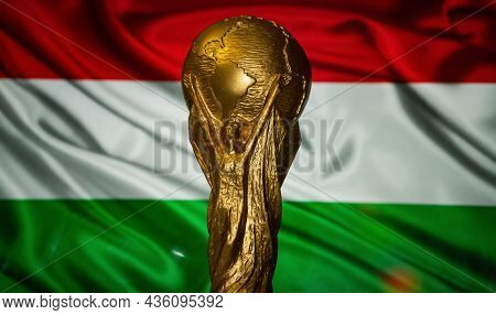 October 6, 2021 Budapest, Hungary. Fifa World Cup On The Background Of The Flag Of Hungary.