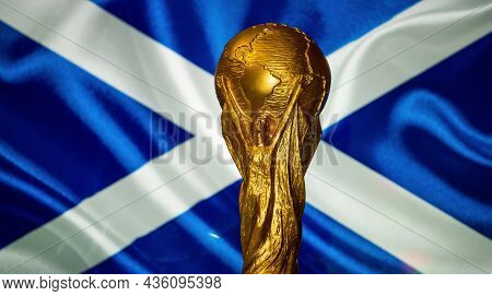 October 6, 2021, Edinburgh, Scotland. Fifa World Cup Against The Backdrop Of The Flag Of Scotland.