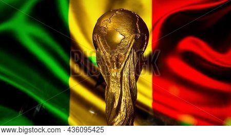 October 6, 2021 Dakar, Senegal. Fifa World Cup Against The Background Of The Flag Of Senegal.