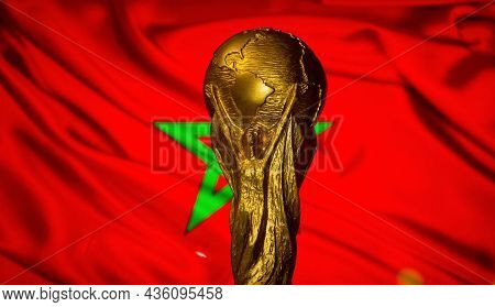 October 6, 2021, Rabat, Morocco. Fifa World Cup On The Background Of The Flag Of Morocco.