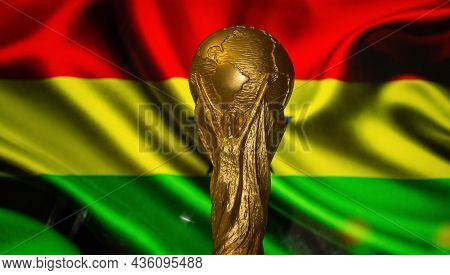 6 October 2021 Accra. Fifa World Cup Against The Background Of The Flag Of Ghana.