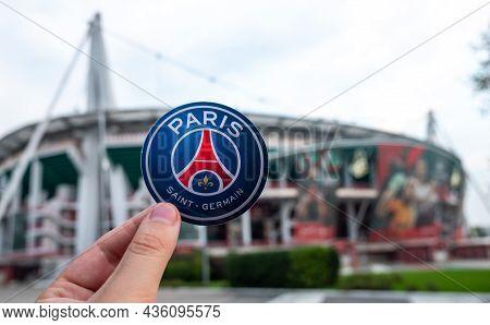 August 27, 2021, Paris, France. The Emblem Of The Football Club Paris Saint-germain F.c. Against The