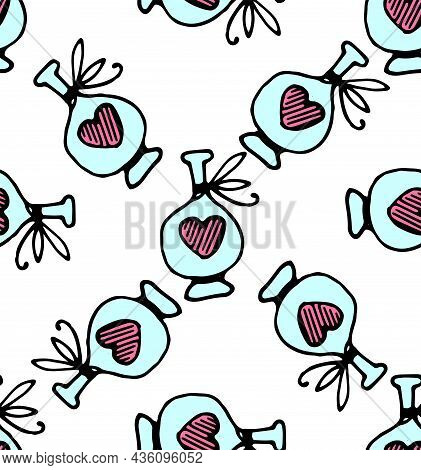 Seamless Pattern Of A Blue Bottle With A Pink Heart And A Bow. Hand-drawn Pattern Of A Love Potion B