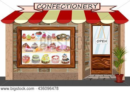 Vector Illustration With A Pastry Shop.showcase Of A Confectionery Store With Desserts On The Shelve