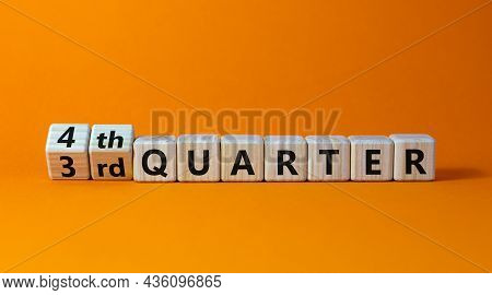 From 3rd To 4th Quater Symbol. Turned Wooden Cubes And Changed Words '3rd Quater' To '4th Quater'. B