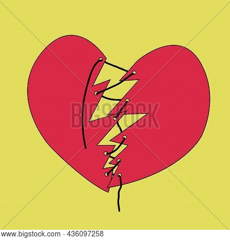 Fixed Broken Heart. Two Pieces Connected With String.