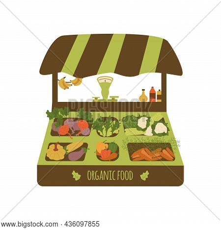 Stall Counter. Sale Of Environmentally Friendly Organic Products, Vegetables And Fruits. Eco Food. C