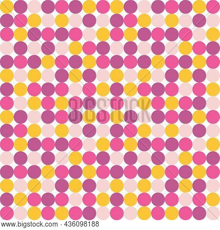 Vector Circle Seamless Pattern. Abstract Geometric Playful Childish Background. Cute Baby Print. Tem