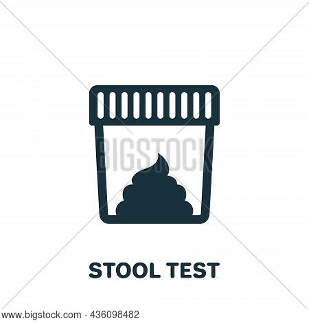 Stool Test Silhouette Icon. Sample For Laboratory Research Pictogram. Medical Exam Of Feces Glyph Ic