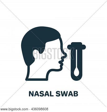 Nasal Swab Test With Human Profile Silhouette Icon. Nasal Analysis Swab For Corona Pictogram. Dna Ex