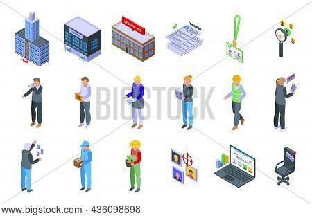 Seeking Job Icons Set Isometric Vector. Covid Employment. Lost Job