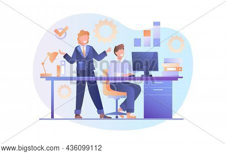 Businesswoman Checks Subordinate. Workflow, Large Company, Successful Project. Business, Document, E