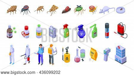 Chemical Control Icons Set Isometric Vector. Quality Test. Safety Avoid
