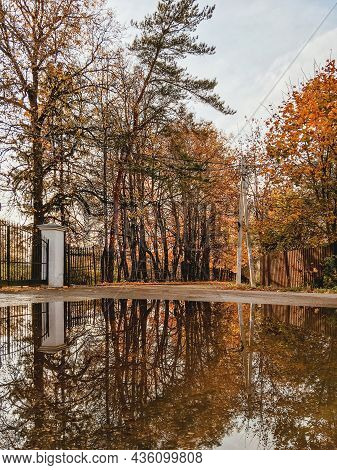 Autumn In Park. Trees With Bright Foliage And Decorative Fence Reflect In Large Puddle On Road.