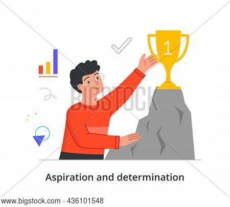 Achieving Goals Concept. Man Aspires To Top And Awarded Gold Cup. Entrepreneur Defeated Competitors