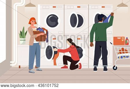 People At Public Launderette. Men And Women Clean Clothes In Washing Machine And Dryer. Convenient L