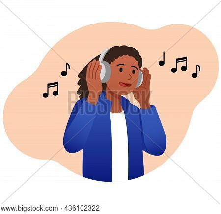 Girl Listens To Music. Young Character In Headphones Listens To His Favorite Track On Radio And Sing
