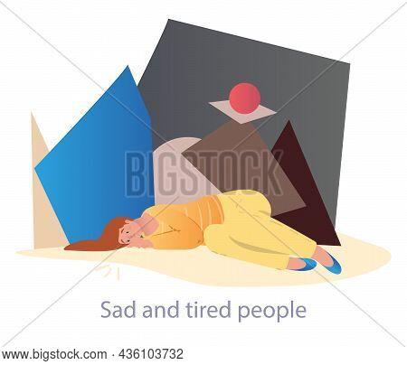 Professional Burnout Or Mental Problem. Sad Woman Lies Next To Large Geometric Figure. Metaphor Of B