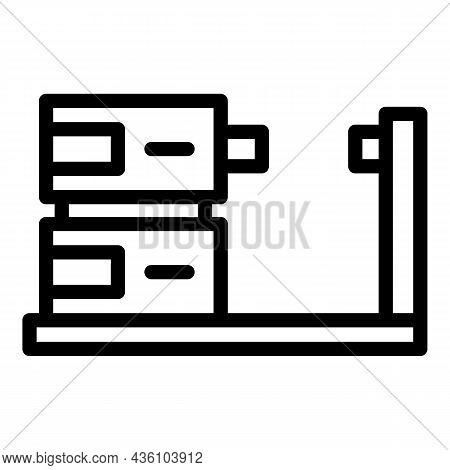 Mechanical Cnc Machine Icon Outline Vector. Lathe Equipment. Work Tool