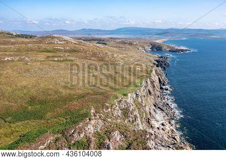 Aerial View Of The Coastline By Marmeelan And Falcorrib South Of Dungloe, County Donegal - Ireland