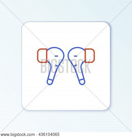 Line Air Headphones Icon Icon Isolated On White Background. Holder Wireless In Case Earphones Garnit